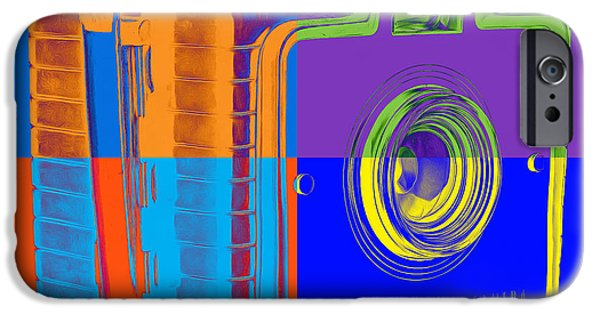 Boxes iPhone Cases - Box Camera Pop Art 1 iPhone Case by Edward Fielding