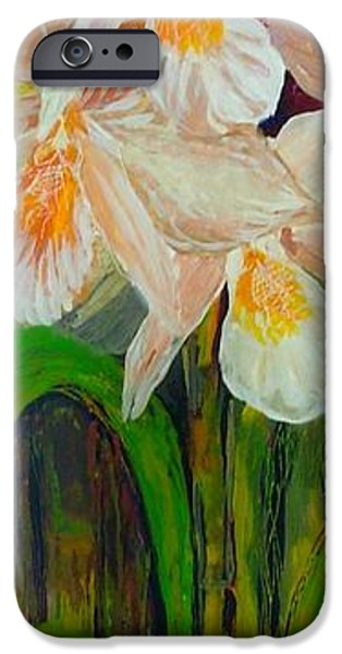Paint Glass Art iPhone Cases - Boxed Orchids iPhone Case by Anna Skaradzinska
