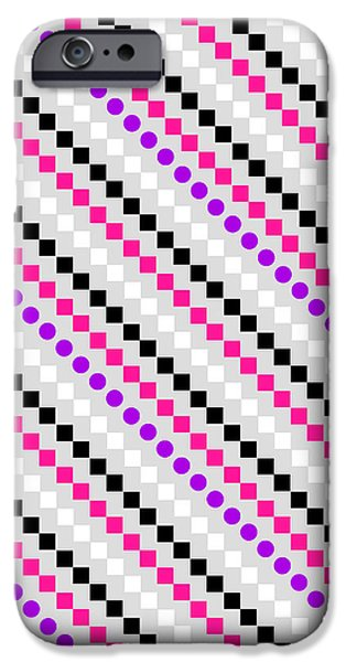 Modern Digital Art iPhone Cases - Boxed Stripe iPhone Case by Louisa Hereford