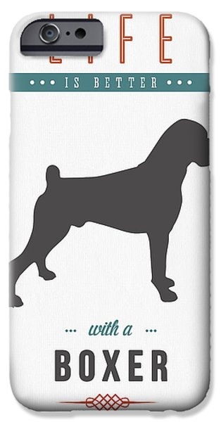 Boxer Dog iPhone Cases - Boxer 01 iPhone Case by Aged Pixel