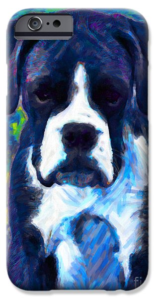 Pups Digital Art iPhone Cases - Boxer 20130126v5 iPhone Case by Wingsdomain Art and Photography