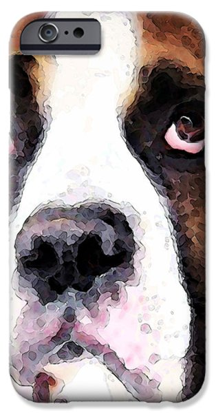 Boxer Art - Sad Eyes iPhone Case by Sharon Cummings