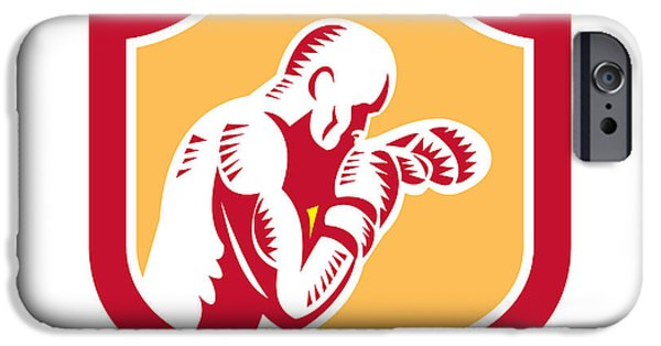 Boxer Digital iPhone Cases - Boxer Boxing Jabbing Punch Side Shield Retro iPhone Case by Aloysius Patrimonio