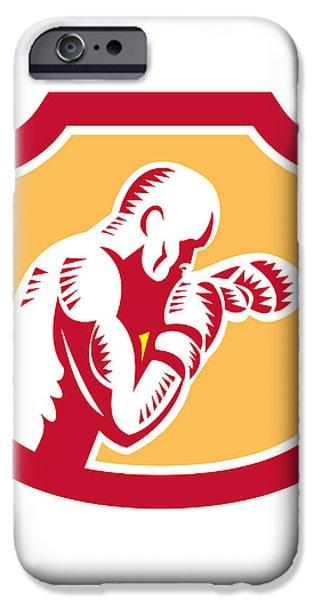 Boxer Boxing Jabbing Punch Side Shield Retro iPhone Case by Aloysius Patrimonio