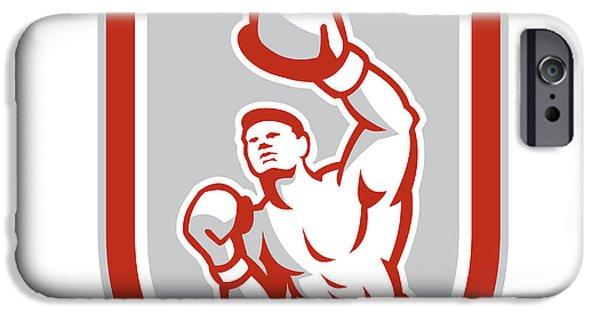 Boxer Digital Art iPhone Cases - Boxer Boxing Punching Jabbing Circle Retro iPhone Case by Aloysius Patrimonio