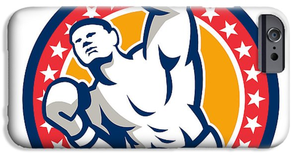 Boxer Digital Art iPhone Cases - Boxer Boxing Punching Jabbing Retro iPhone Case by Aloysius Patrimonio