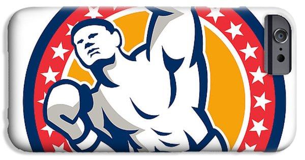 Contender Digital iPhone Cases - Boxer Boxing Punching Jabbing Retro iPhone Case by Aloysius Patrimonio