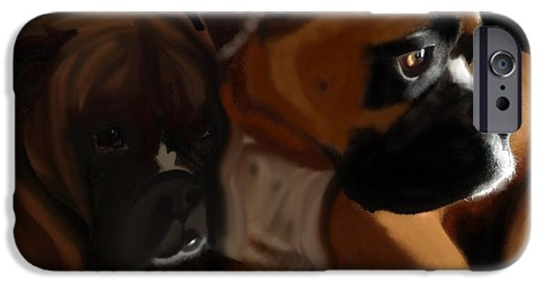 Boxer Digital Art iPhone Cases - Boxer Brothers iPhone Case by Christina Kulzer