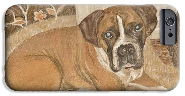 Boxer iPhone Cases - Boxer Dog George iPhone Case by Faye Giblin