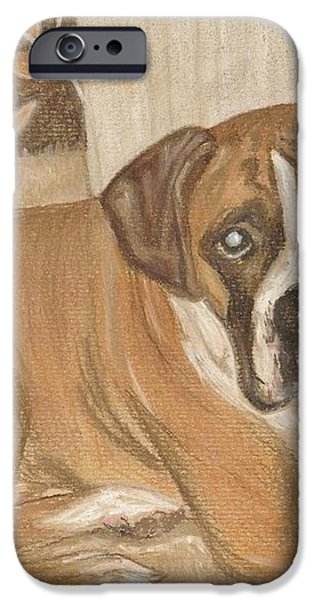 Boxer Dog George iPhone Case by Faye Giblin