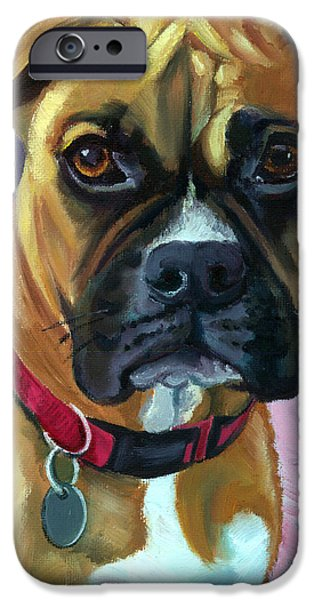 Boxer Dog iPhone Cases - Boxer Dog Portrait iPhone Case by Lyn Cook