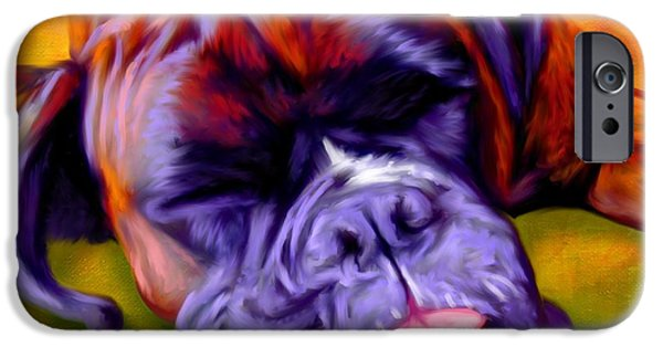 Buy Dog Digital iPhone Cases - Boxer iPhone Case by Iain McDonald