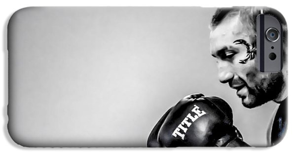 Boxer Digital Art iPhone Cases - Boxer In Black and White iPhone Case by   Waite