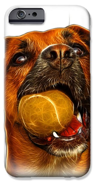 Boxer Mix Dog Art - 8173 - WB iPhone Case by James Ahn