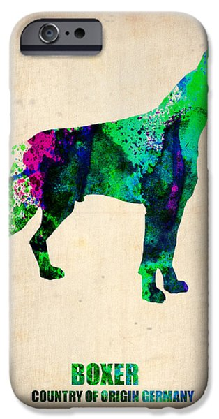 Pets Art iPhone Cases - Boxer Poster iPhone Case by Naxart Studio