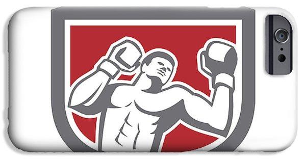 Boxer Digital Art iPhone Cases - Boxer Punching Boxing Shield Retro iPhone Case by Aloysius Patrimonio