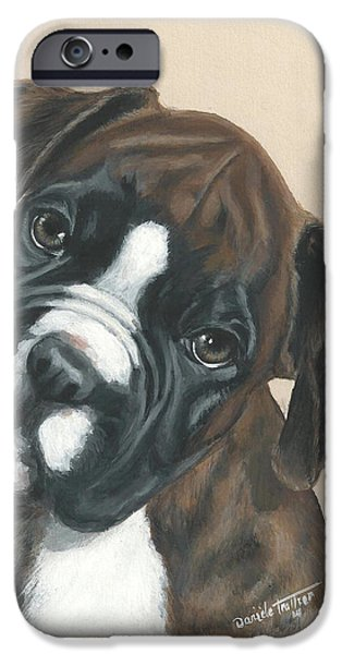 Boxer iPhone Cases - Boxer Puppy iPhone Case by Daniele Trottier