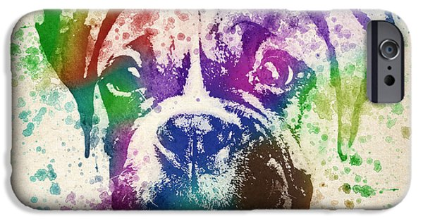 Boxer Dog iPhone Cases - Boxer Splash iPhone Case by Aged Pixel