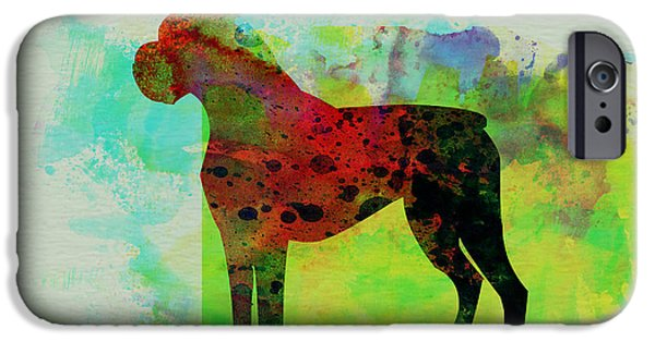 Pets Art iPhone Cases - Boxer Watercolor iPhone Case by Naxart Studio