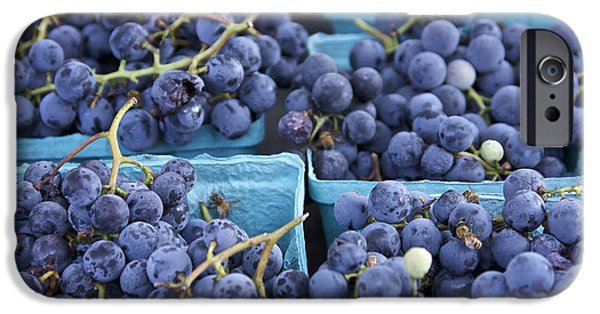 Concord Grapes iPhone Cases - Boxes of Fresh Concord Grapes at farmers market in NYC. iPhone Case by Scott W Baker