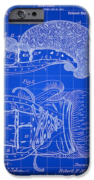 Punch Digital iPhone Cases - Boxing Glove Patent 1914 - Blue iPhone Case by Stephen Younts