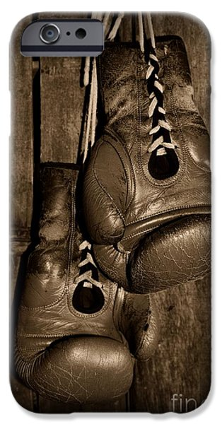 Boxing Gloves  black and white iPhone Case by Paul Ward