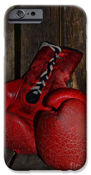 Boxer iPhone Cases - Boxing Gloves Worn Out iPhone Case by Paul Ward