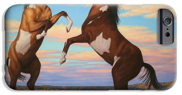 Paint Horse iPhone Cases - Boxing Horses iPhone Case by James W Johnson