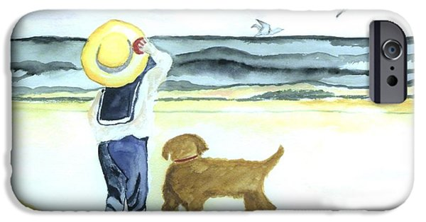 Shirt Digital iPhone Cases - Boy and His Dog iPhone Case by Marsha Heiken