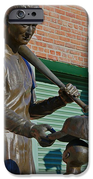 Fenway Park iPhone Cases - Boy and His Hero Ted Williams iPhone Case by Mike Martin