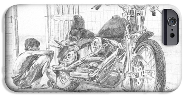 Recently Sold -  - Asphalt iPhone Cases - Boy And Motorcycle iPhone Case by Masha Batkova