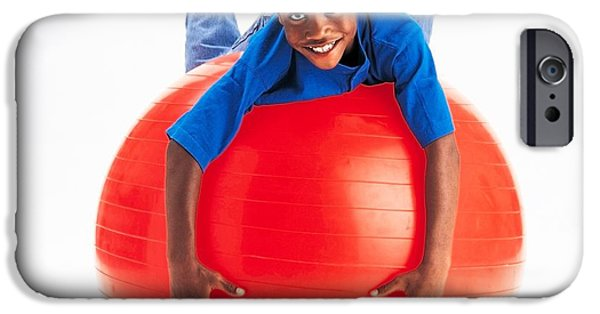 Pilate iPhone Cases - Boy Balancing On Exercise Ball iPhone Case by Ron Nickel