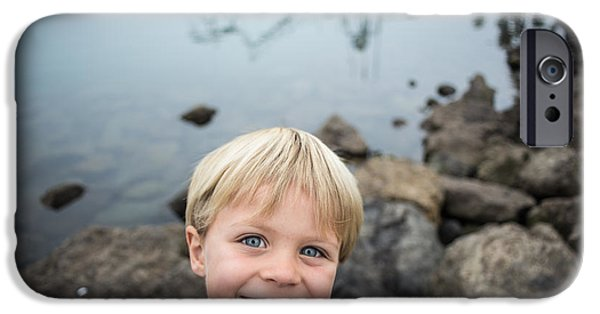 Marine iPhone Cases - Boy Exploring on the Rocks at the Harbor iPhone Case by Tom Robinson