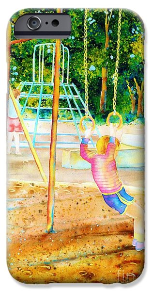 Park Scene Paintings iPhone Cases - Boy Hanging On Gymnastic Rings In Park Paintings Montreal Park Scenes Carole Spandau iPhone Case by Carole Spandau