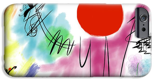 Abstract Digital Paintings iPhone Cases - Boy Holding A Tray Of Small Waiters iPhone Case by Alex Retivov
