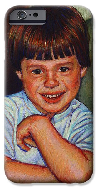 Boy in Blue Shirt iPhone Case by Kenneth Cobb