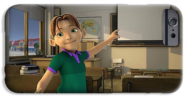 Schoolboy iPhone Cases - Boy in Classroom iPhone Case by Victor Gladkiy
