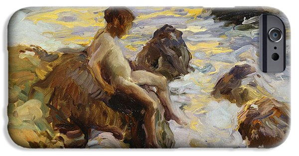 Young Paintings iPhone Cases - Boy In The Breakers iPhone Case by Joaquin Sorolla y Bastida