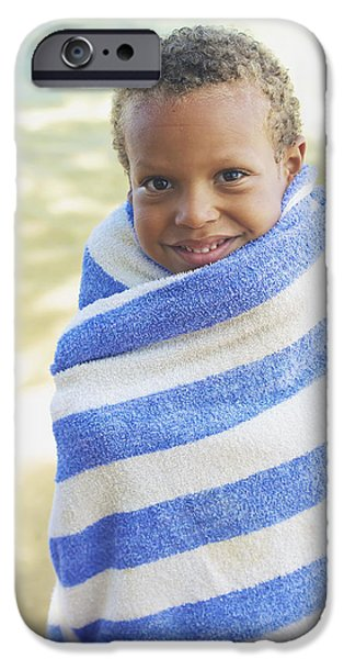 Youthful iPhone Cases - Boy in Towel iPhone Case by Kicka Witte