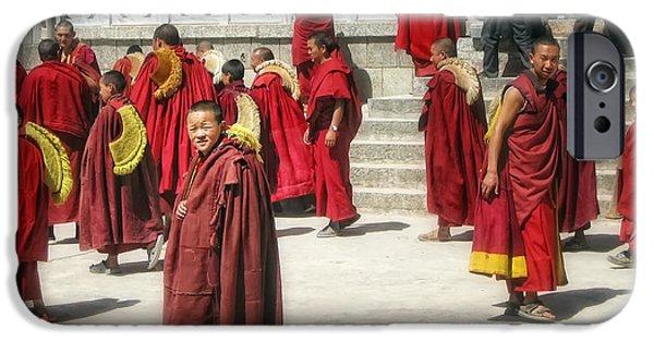 Tibetan Buddhism iPhone Cases - Boy monk iPhone Case by James Wheeler