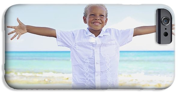 Youthful iPhone Cases - Boy on Beach iPhone Case by Kicka Witte