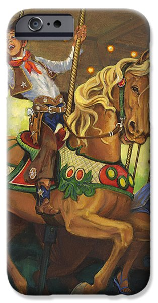 Carousel Horse Paintings iPhone Cases - Boy on Carousel Horse iPhone Case by Don  Langeneckert
