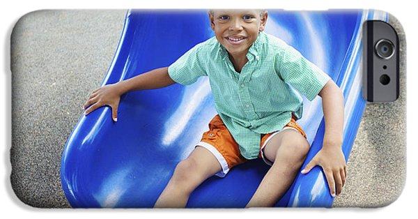 Youthful iPhone Cases - Boy on Slide iPhone Case by Kicka Witte