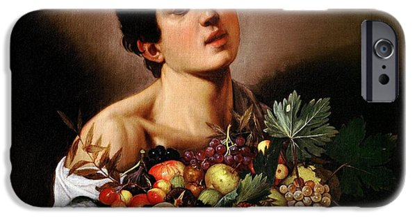 Caravaggio Paintings iPhone Cases - Boy with a Basket of Fruit iPhone Case by Caravaggio