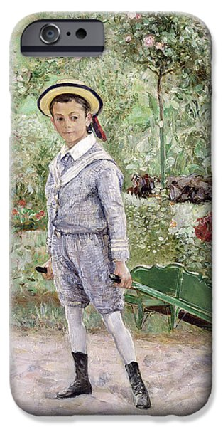 Green Path iPhone Cases - Boy with a Wheelbarrow iPhone Case by Ernst Josephson