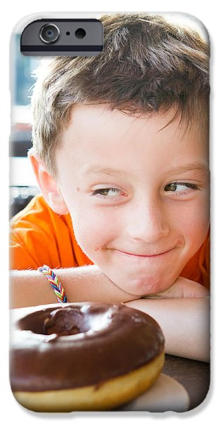 Doughnuts iPhone Cases - Boy with donut iPhone Case by Tom Gowanlock