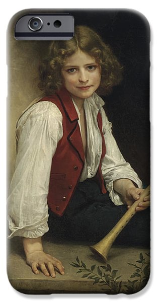 Concept Paintings iPhone Cases - Boy with Flute iPhone Case by Bouguereau
