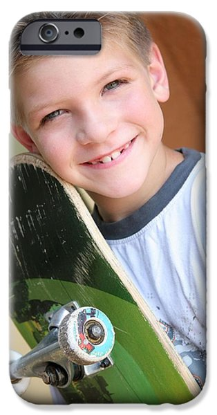 Toothy Smile iPhone Cases - Boy With Skateboard iPhone Case by Colleen Cahill