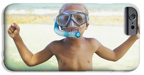 Youthful iPhone Cases - Boy with Snorkel iPhone Case by Kicka Witte