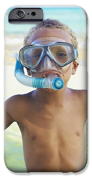 Boy with Snorkel iPhone Case by Kicka Witte